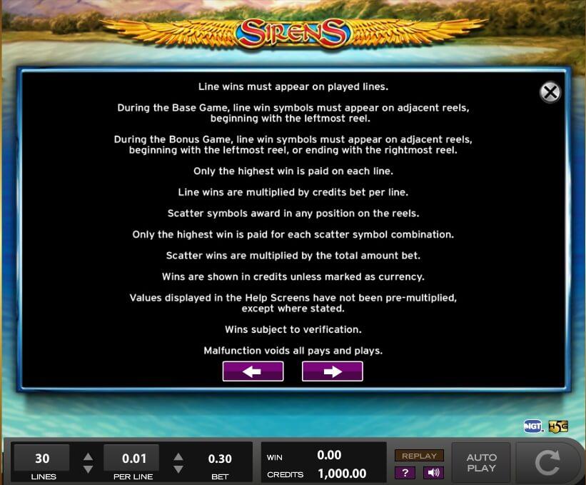 sirens slot slot machine detail image 9