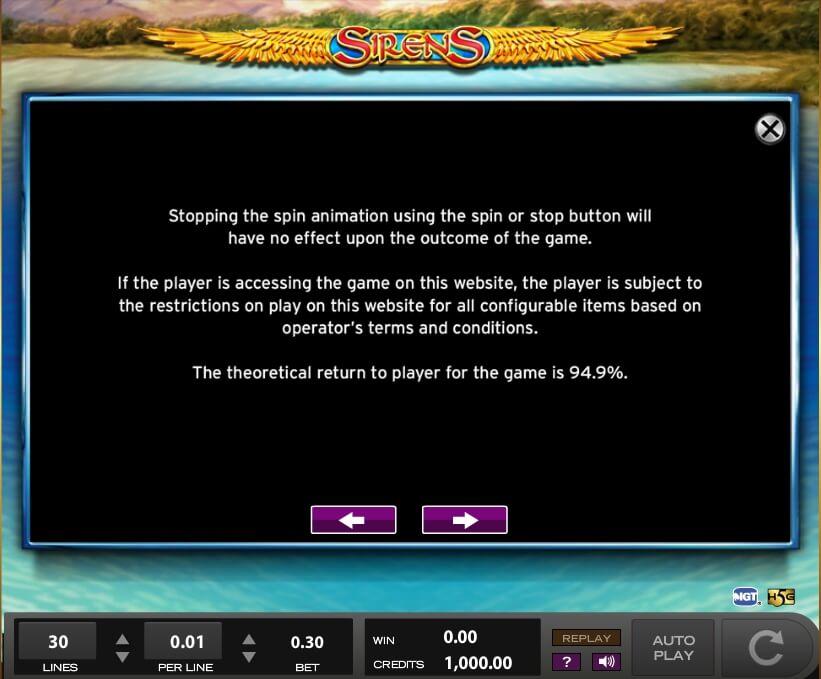 sirens slot slot machine detail image 10
