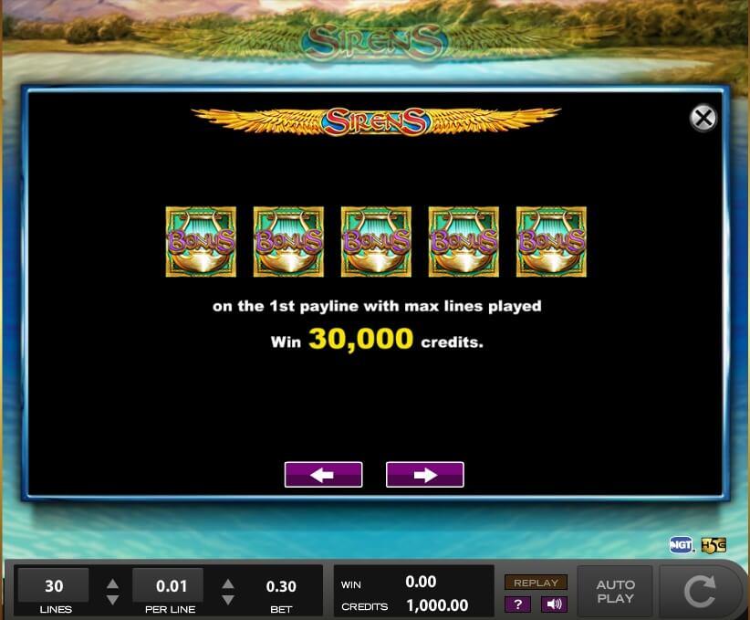 sirens slot slot machine detail image 7