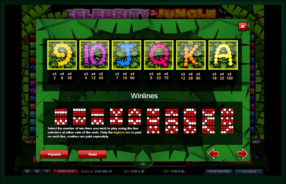 celebrity in the jungle slot slot machine detail image 2