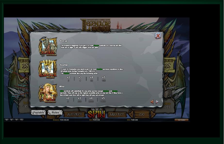 legendlore slot machine detail image 1