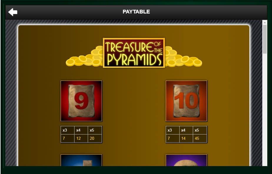 treasure of the pyramids slot slot machine detail image 2