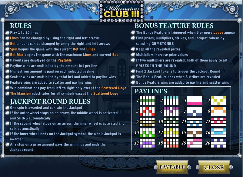 millionaires club 3 slot machine detail image 0