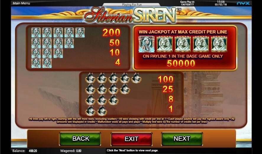 siberian siren slot slot machine detail image 3