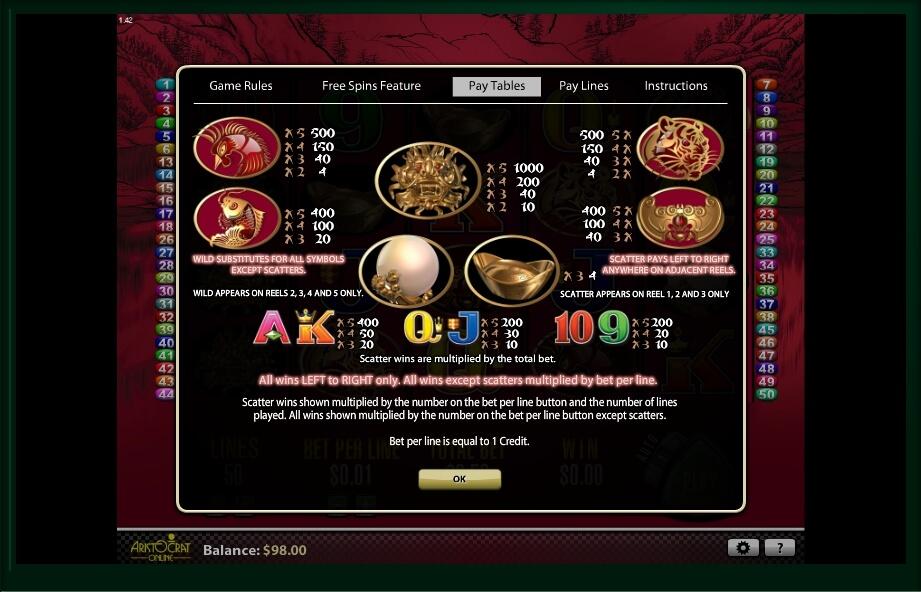 50 dragons slot slot machine detail image 2
