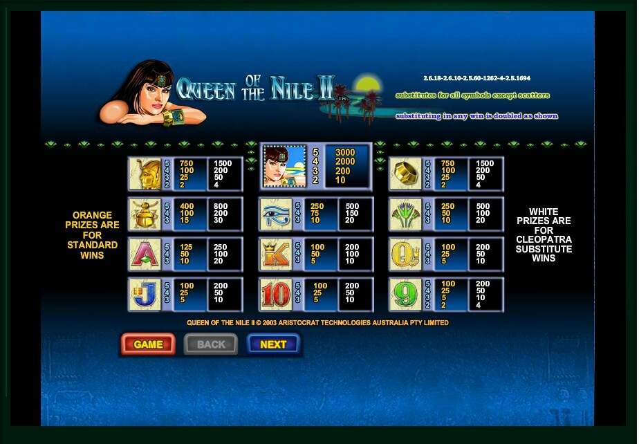 queen of the nile ii slot machine detail image 3