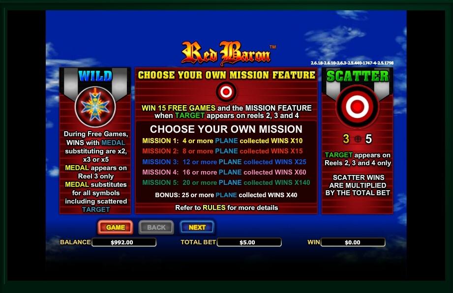 red baron slot machine detail image 0