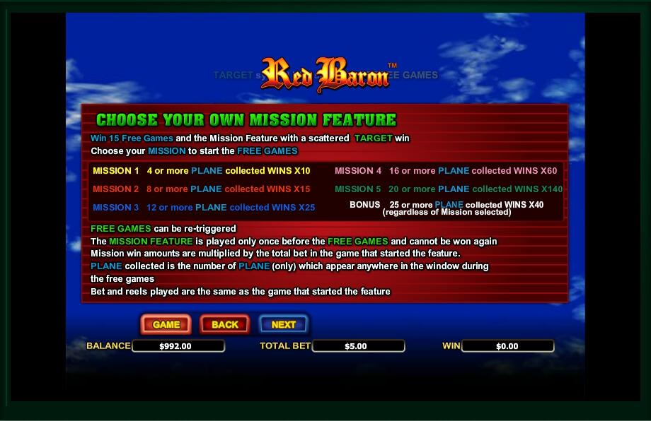 red baron slot machine detail image 1