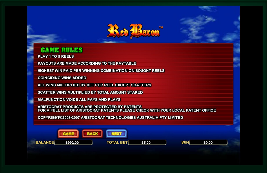 red baron slot machine detail image 2