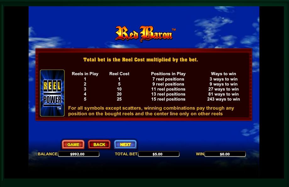 red baron slot machine detail image 5