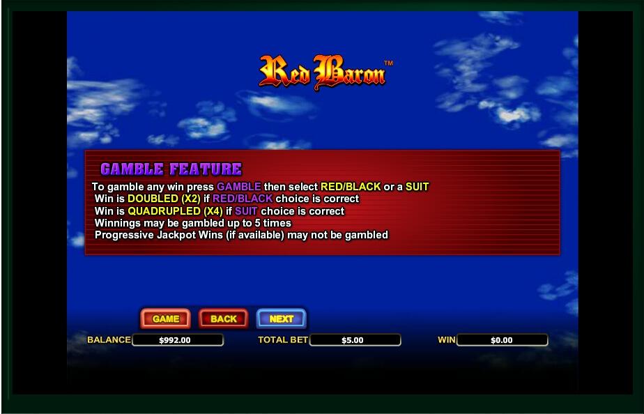 red baron slot machine detail image 4
