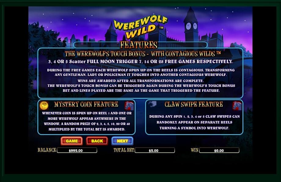 werewolf wild slot machine detail image 0
