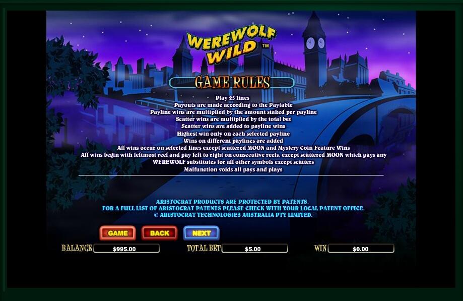 werewolf wild slot machine detail image 3