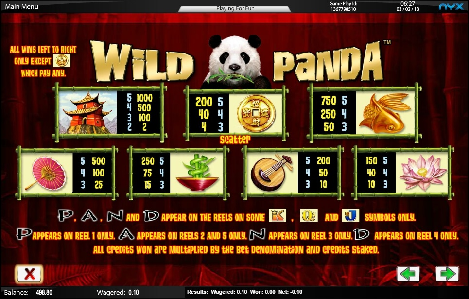 wild panda slot slot machine detail image 2