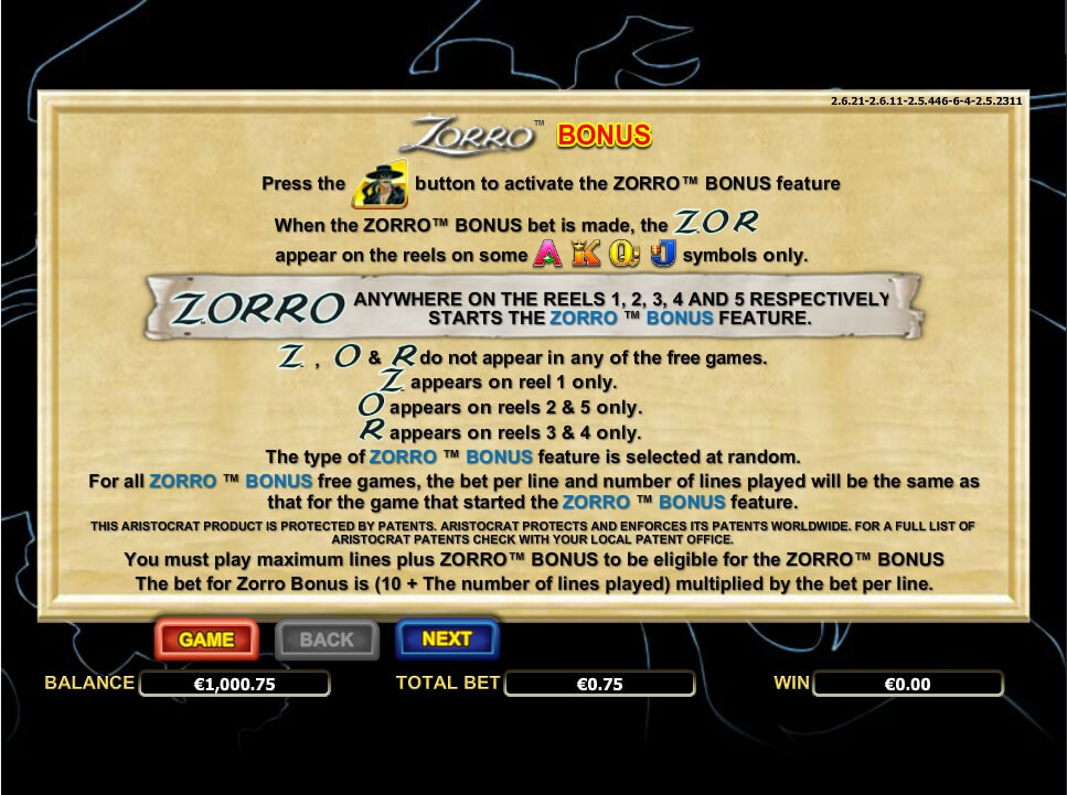 zorro slot slot machine detail image 0