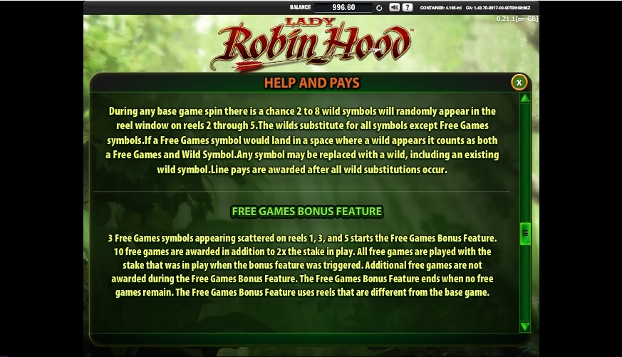lady robin hood slot slot machine detail image 1