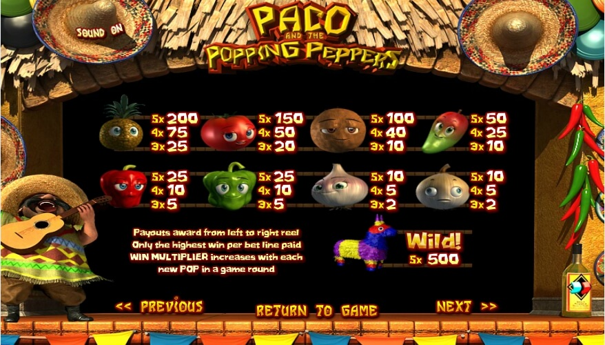 paco and the popping peppers slot slot machine detail image 0