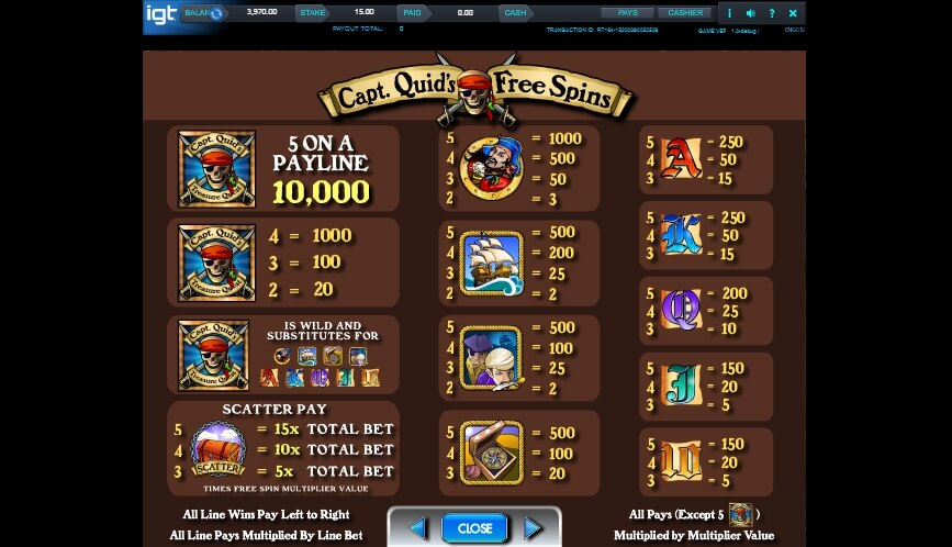 capt quids treasure quest slot slot machine detail image 1