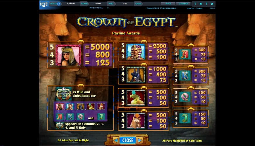 crown of egypt slot slot machine detail image 3