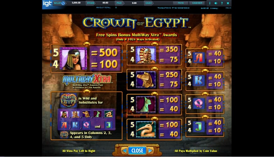 crown of egypt slot slot machine detail image 2