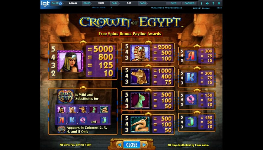 crown of egypt slot slot machine detail image 5