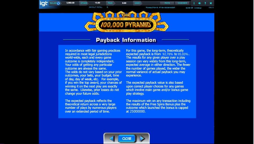 the 100,000 pyramid slot slot machine detail image 2
