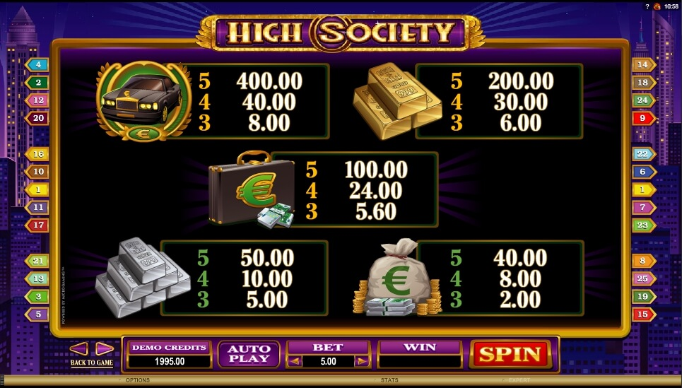 high society slot slot machine detail image 3