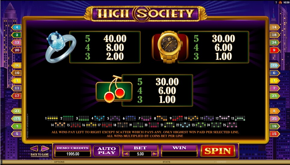 high society slot slot machine detail image 4