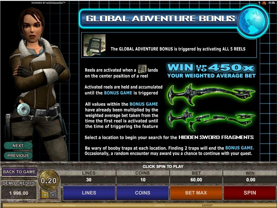 tomb raider secret of the sword slot slot machine detail image 0