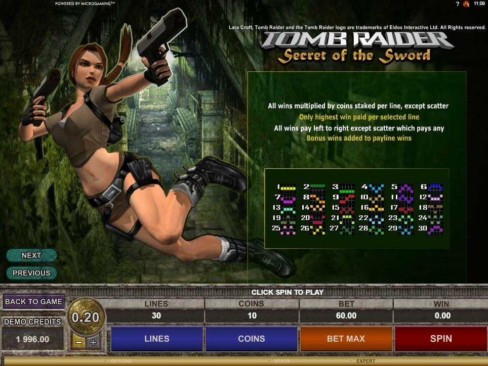 tomb raider secret of the sword slot slot machine detail image 1