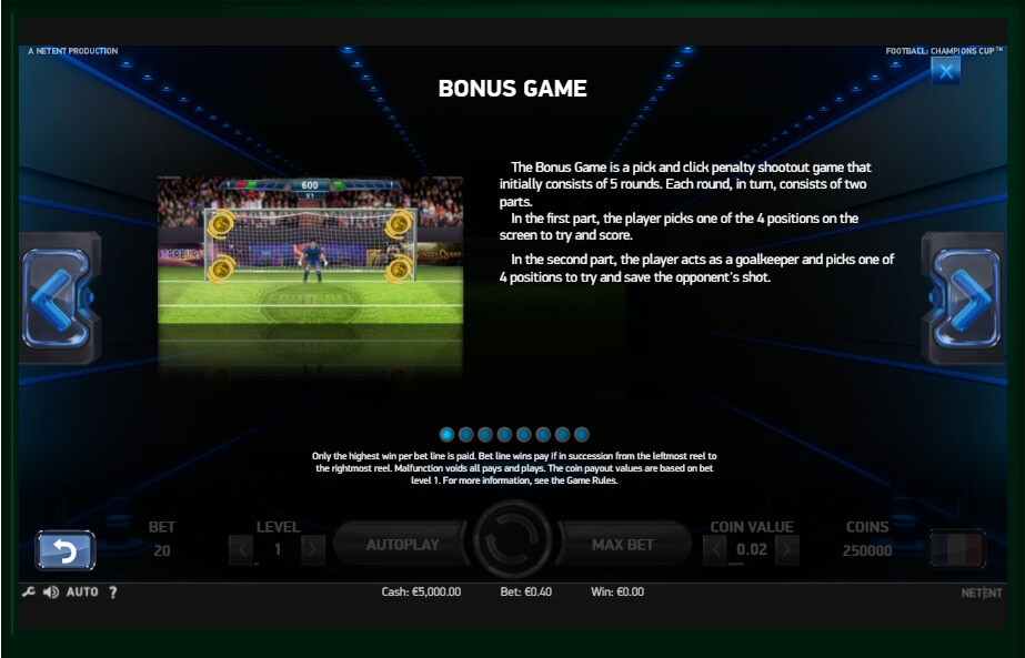 football: champions cup slot machine detail image 0