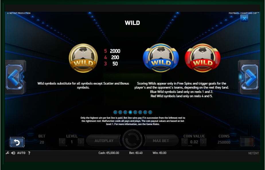 football: champions cup slot machine detail image 2