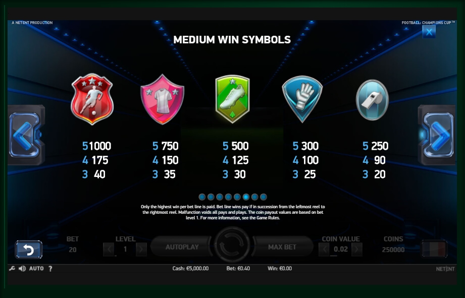 football: champions cup slot machine detail image 3