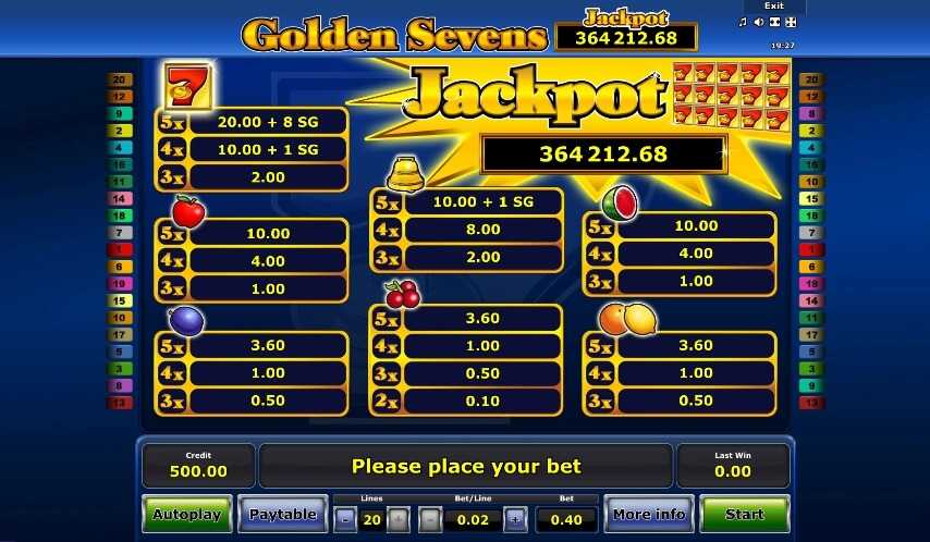 golden sevens slot machine detail image 0