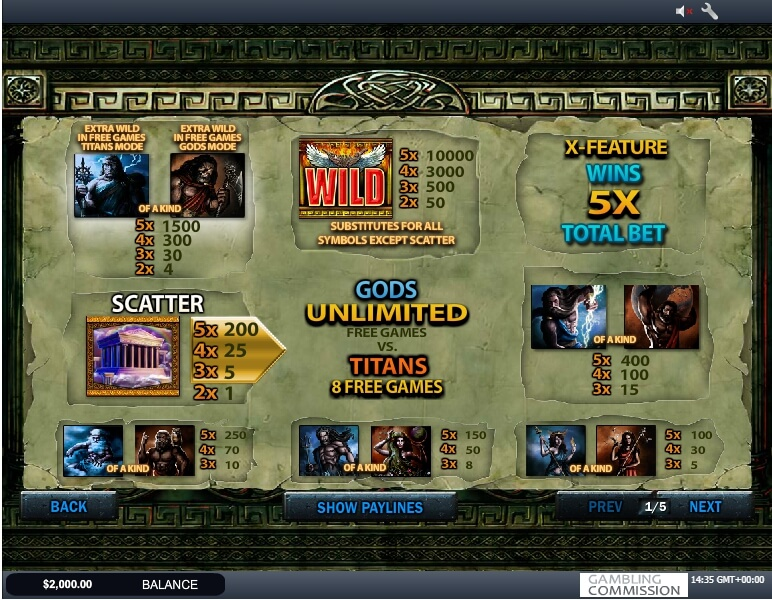battle of the gods slot slot machine detail image 0