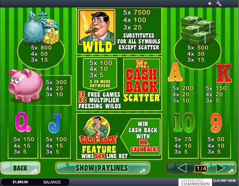 mr. cashback slot slot machine detail image 0