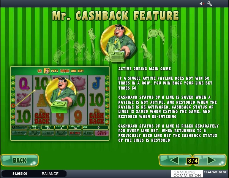 mr. cashback slot slot machine detail image 1