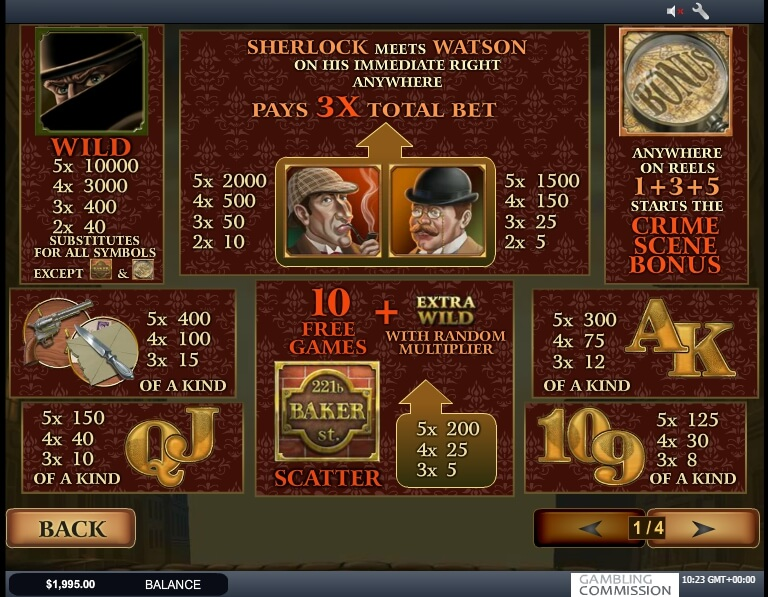 sherlock mystery slot machine detail image 0