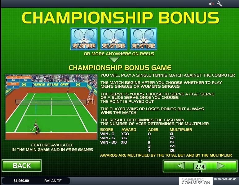 tennis stars slot machine detail image 2