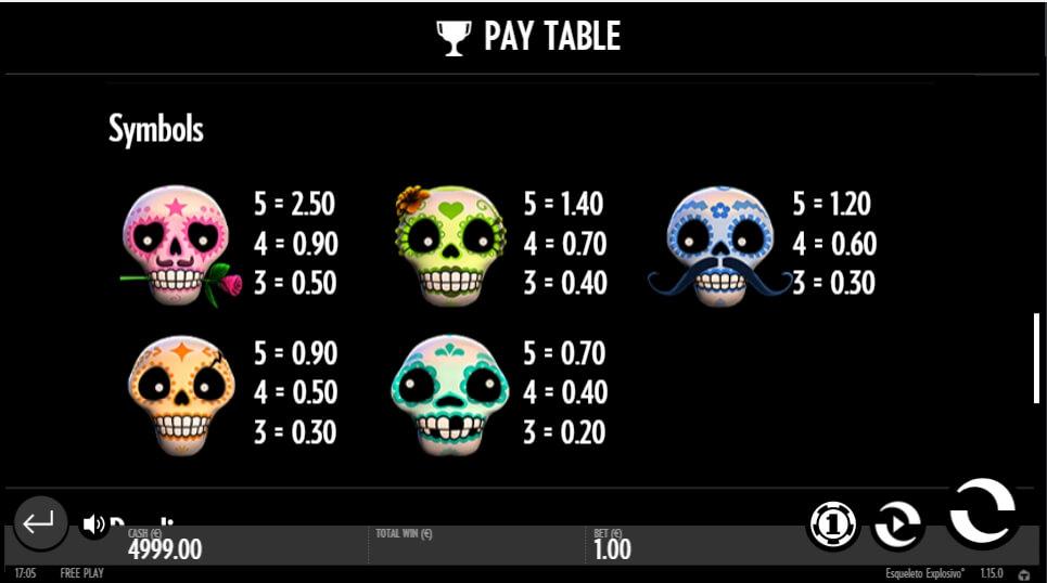 esqueleto explosivo slot slot machine detail image 1