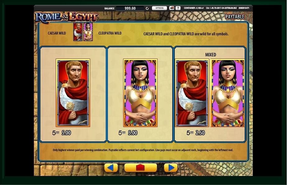 rome & egypt slot machine detail image 3